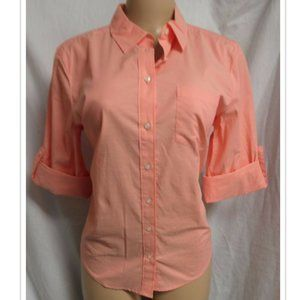 CORAL SALMON ROLLED UP SLEEVES BUTTON DOWN SHIRT